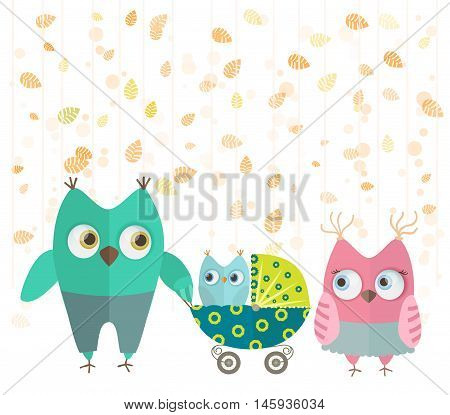cute cartoon owls family walking with baby stroller in autumn. vector illustration