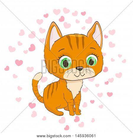 cartoon kitten and hearts background. vector illustration