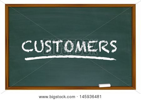 Customers Clients New Prospects Chalk Board Word 3d Illustration