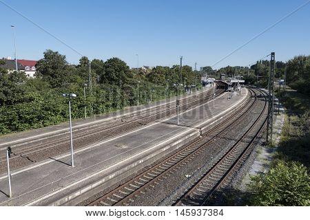 Railway station Germany Mainz-Kastel, empty railroad platform