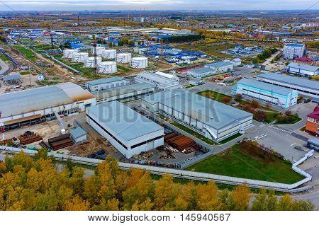 Tyumen, Russia - September 25, 2015: Bird eye view onto Tyumen-3 oil pumping station in Antipino, JSC Sibnefteprovod