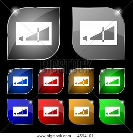 Volume Adjustment Icon Sign. Set Of Ten Colorful Buttons With Glare. Vector