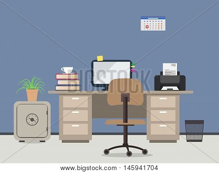Workplace of office worker. There is the desktop, a chair, the computer, a printer, case and other office objects in the picture.Vector flat illustration