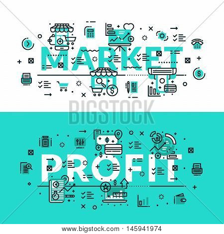 Market and Profit heading title web banner. Horizontal colored in white and turquoise flat vector illustration.