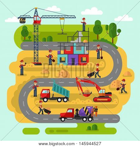 Flat design vector landscape illustration of construction process. Workers build a house. Including crane, bulldozer or excavator, concrete mixer, road, cement, unloading truck with sand.