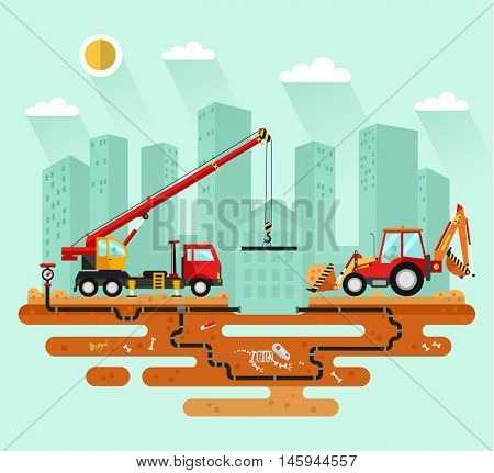 Flat design vector landscape illustration of construction process in the city. Truck crane and bulldozer or excavator laying of the pipes. Including sand, cement, dinosaur's bones, boot, pipelines.