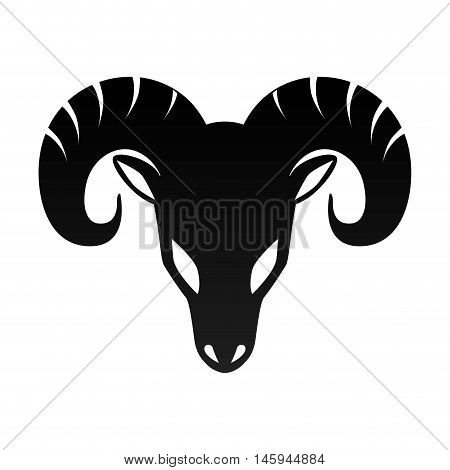ram horn animal aries zodiac sign silhouette vector illustration