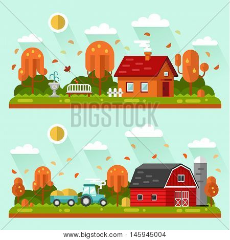 Flat design vector autumn landscape illustrations with farm building, house, bench, fountain or drinking bowls for birds, leaf fall, tractor. Farming, agricultural, harvest concept.