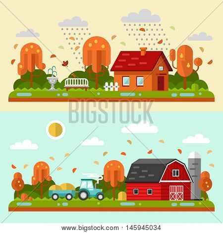 Flat design vector autumn landscape illustrations with farm building, house, bench, fountain, rain, puddles, leaf fall, tractor. Farming, agricultural, organic products concept.