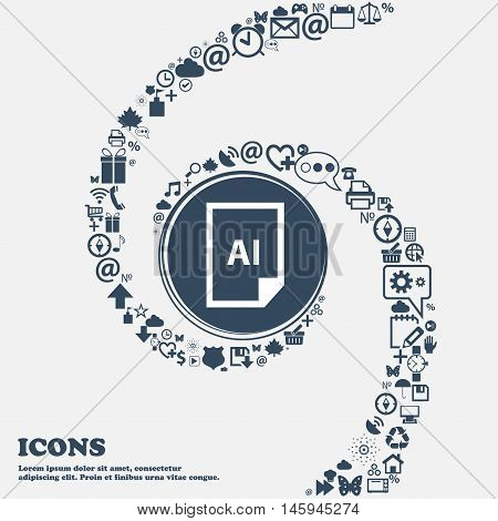 File Ai Icon In The Center. Around The Many Beautiful Symbols Twisted In A Spiral. You Can Use Each