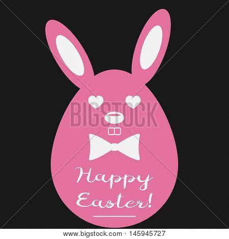 Easter egg with rabbit ears and muzzle. Bow text Happy Easter! Pink brown white.