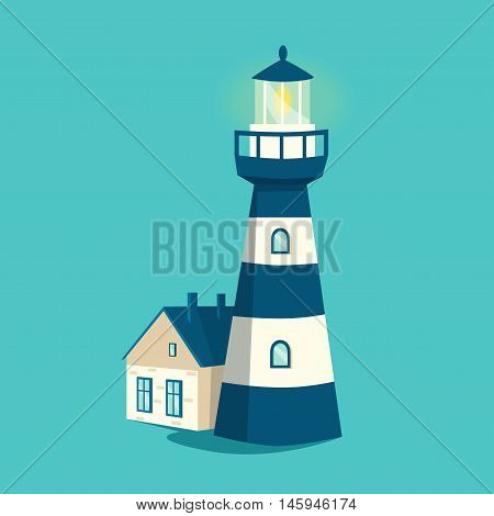 Blue lighthouse. Cartoon vector illustration. Searchlight tower. Maritime navigational guidance