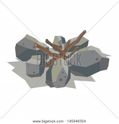 Firewood fireplace for bonfire stack vector stone material. Firewood stacked stones blocks. Firewood bonfire stack energy industry. Fireplace stack vector illustration isolated