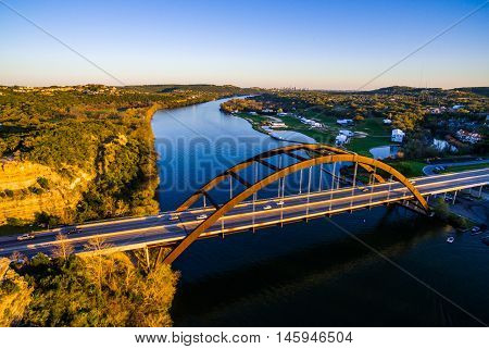 Aerial Drone View Above Pennybacker Bridge on a Tranquil Afternoon in Austin Texas above the Lake of the Colorado River