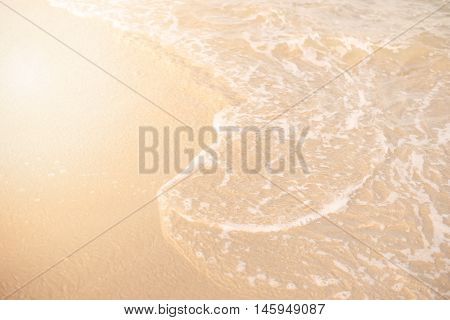 Sand And Wave Background. Soft Wave Of The Turquoise Sea On The Sandy Beach. Natural Summer Beach Ba