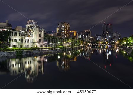 View of the A Bomb dome at night in Hiroshima, Japan