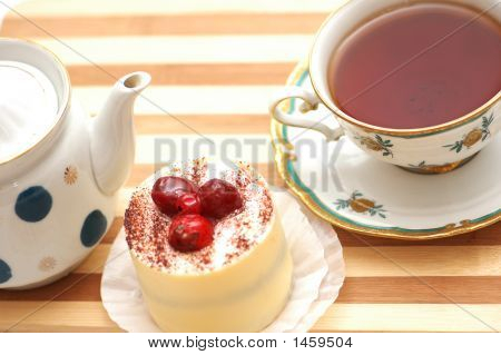 Cup Of Tea, Fruit Cake And Pot - View From The Top