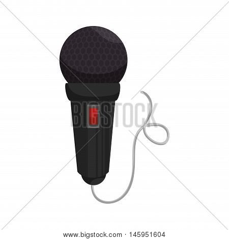 microphone cord mic button audio mike sound vector illustration