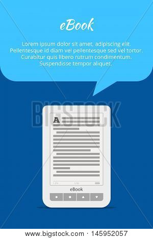 eBook or tablet concept. Quote bubble. A portable device for reading books. Advertising banner. Vector illustration