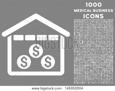 Money Depository vector icon with 1000 medical business icons. Set style is flat pictograms, white color, gray background.