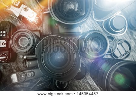 Photography Is My Passion. Professional Photography Equipment on the Table. Lenses Cameras and Other Equipment For a Pro Photo Shooting.