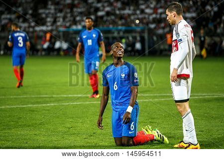 BORISOV, BELARUS - SEPTEMBER 2016 : Pogba in football match of World Cup Qual. UEFA Group A between Belarus and France at the Borisov-Arena on September 6, 2016 in Borisov.