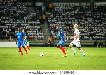 BORISOV, BELARUS - SEPTEMBER 2016: Pogba in football match of World Cup Qual. UEFA Group A between Belarus and France at the Borisov-Arena on September 6, 2016 in Borisov.