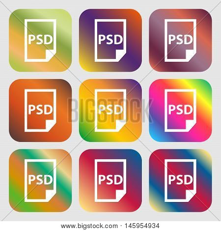 Psd Icon . Nine Buttons With Bright Gradients For Beautiful Design. Vector