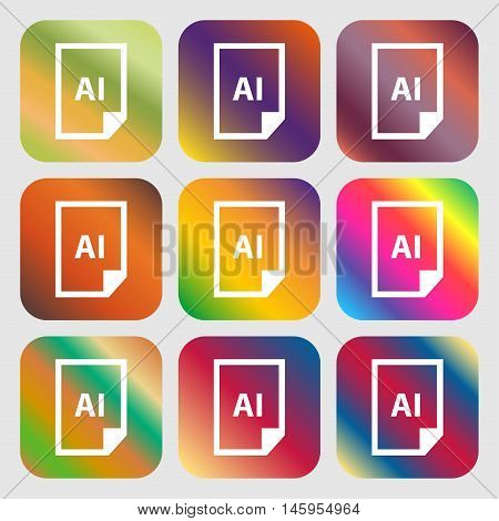 File Ai Icon . Nine Buttons With Bright Gradients For Beautiful Design. Vector