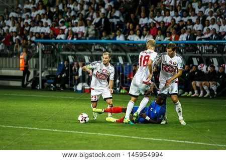 BORISOV, BELARUS - SEPTEMBER 2016: France national football team in match of World Cup Qual. UEFA Group A. between Belarus and France at the Borisov-Arena on September 6, 2016 in Borisov.