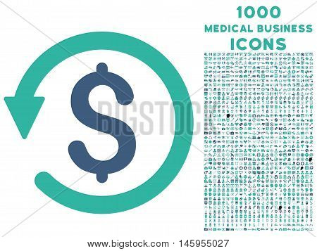 Chargeback vector bicolor icon with 1000 medical business icons. Set style is flat pictograms, cobalt and cyan colors, white background.