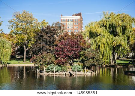 View of the Public Gardens in Boston