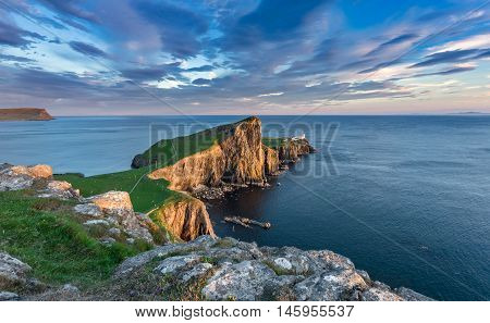 Neist Point Lighthouse near Glendale on the West Coast of the Isle of Skye in the Highlands of Scotland
