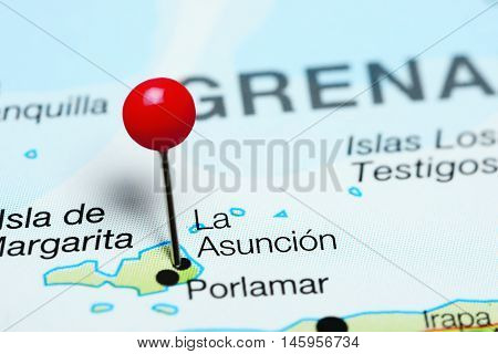 La Asuncion pinned on a map of Venezuela