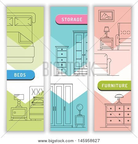A banner of furniture for the bedroom, beds, bedside tables and table lamps in a linear, outline fashion. Storage in the bedroom and in the house.