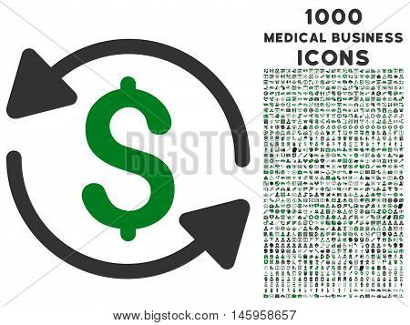 Money Turnover vector bicolor icon with 1000 medical business icons. Set style is flat pictograms, green and gray colors, white background.