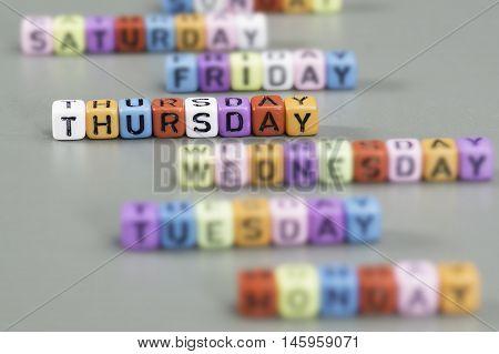 Thursday Text On Dice