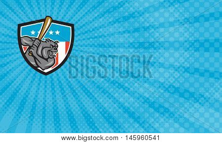 Business Card showing Illustration of a bulldog baseball player batter hitter batting viewed from side set inside shield crest with usa stars and stripes flag in the background done in retro style.