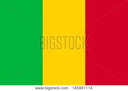 Flag of Mali in correct size proportions and colors. Accurate official standard dimensions. Malian national flag. African patriotic symbol banner element background. Vector illustration