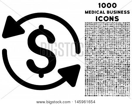 Money Turnover vector icon with 1000 medical business icons. Set style is flat pictograms, black color, white background.