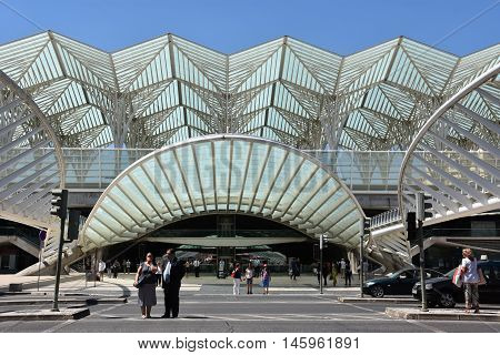 LISBON, PORTUGAL - AUG 21: Lisbon Oriente Station in Portugal, as seen on Aug 21, 2016. It is one of the main Portuguese intermodal transport hubs and one of the worlds largest rail stations.