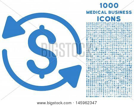 Money Turnover vector icon with 1000 medical business icons. Set style is flat pictograms, cobalt color, white background.