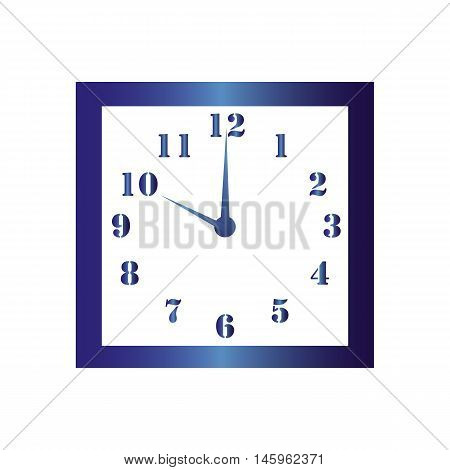Isolated wall square clock. Vector illustration on white background. Ten hours. Ten o'clock. 10 o'clock.