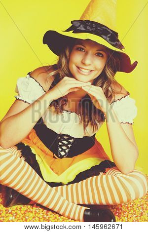 Happy smiling halloween witch costume