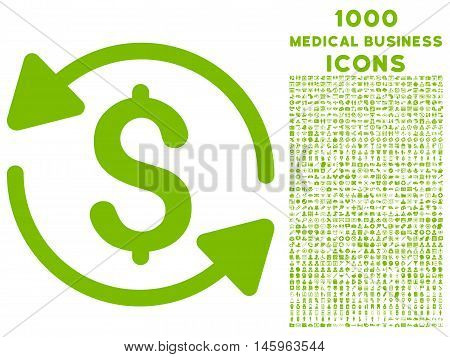 Money Turnover vector icon with 1000 medical business icons. Set style is flat pictograms, eco green color, white background.