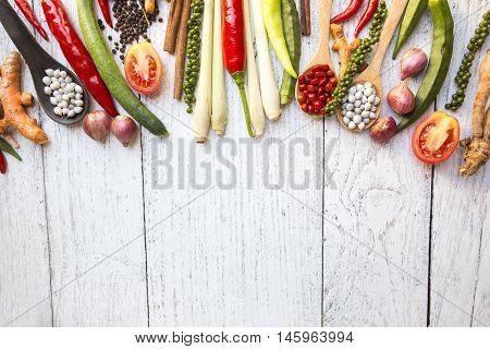 Thai food ingredients vegetable spicy taste on the table