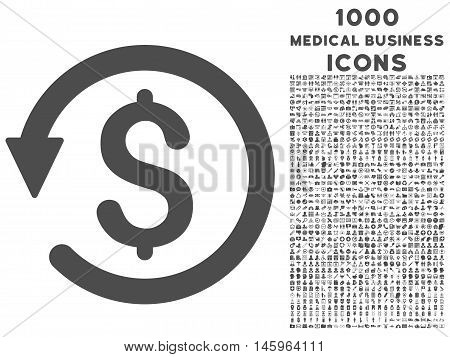 Chargeback vector icon with 1000 medical business icons. Set style is flat pictograms, gray color, white background.