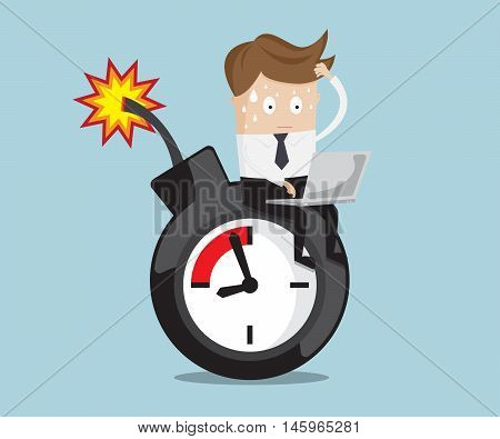 businessman sitting working on time bomb near deadline business concept vector illustration