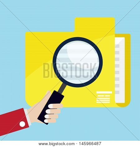 hand use magnifier glass for seaching data in yellow folder vector illustration