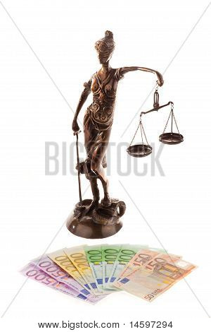 Justice with scales and ?. Cost of justice and court poster
